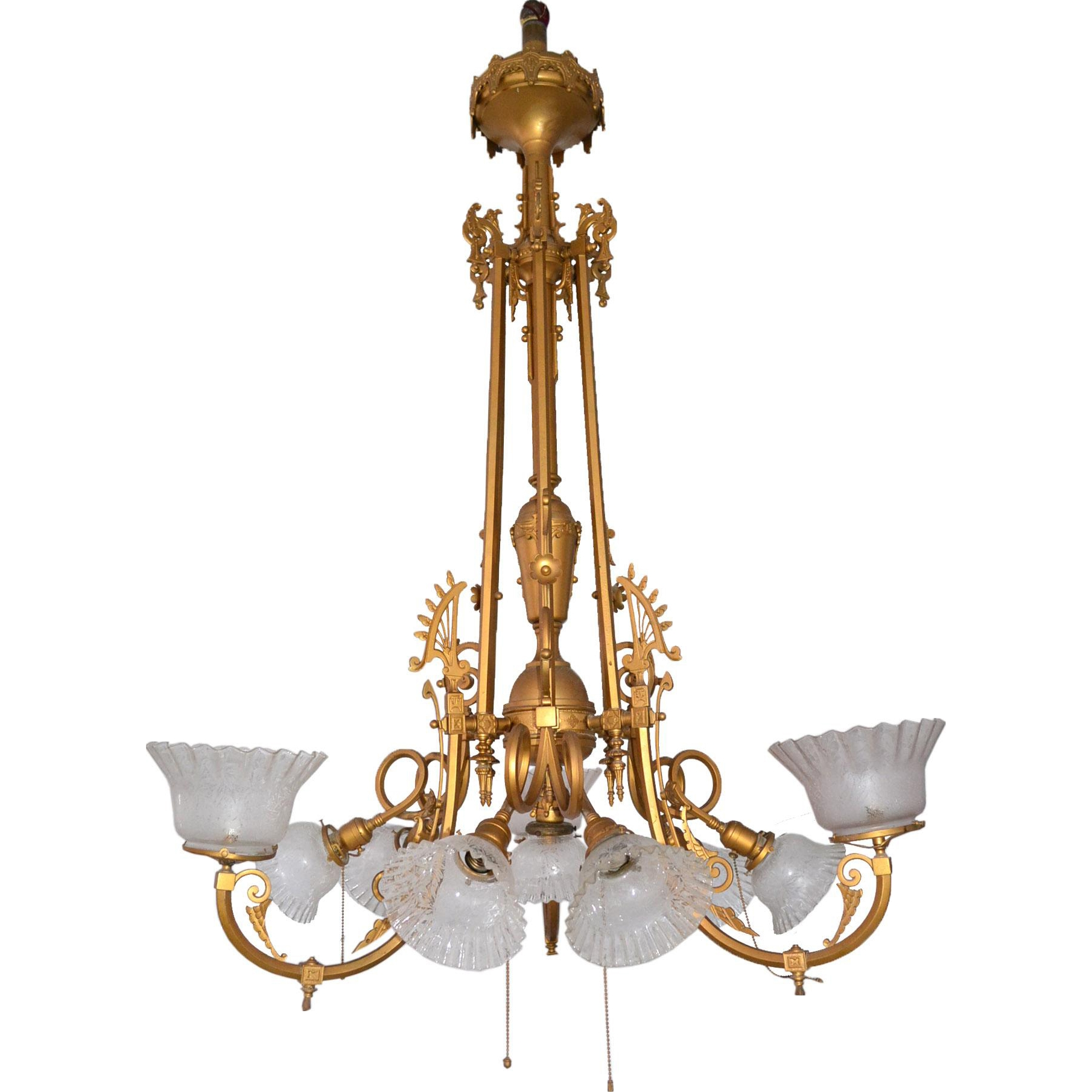 Multi Arm Victorian Gas And Electric Hanging Brass Chandelier With Pertaining To Large Brass Chandelier (#7 of 12)