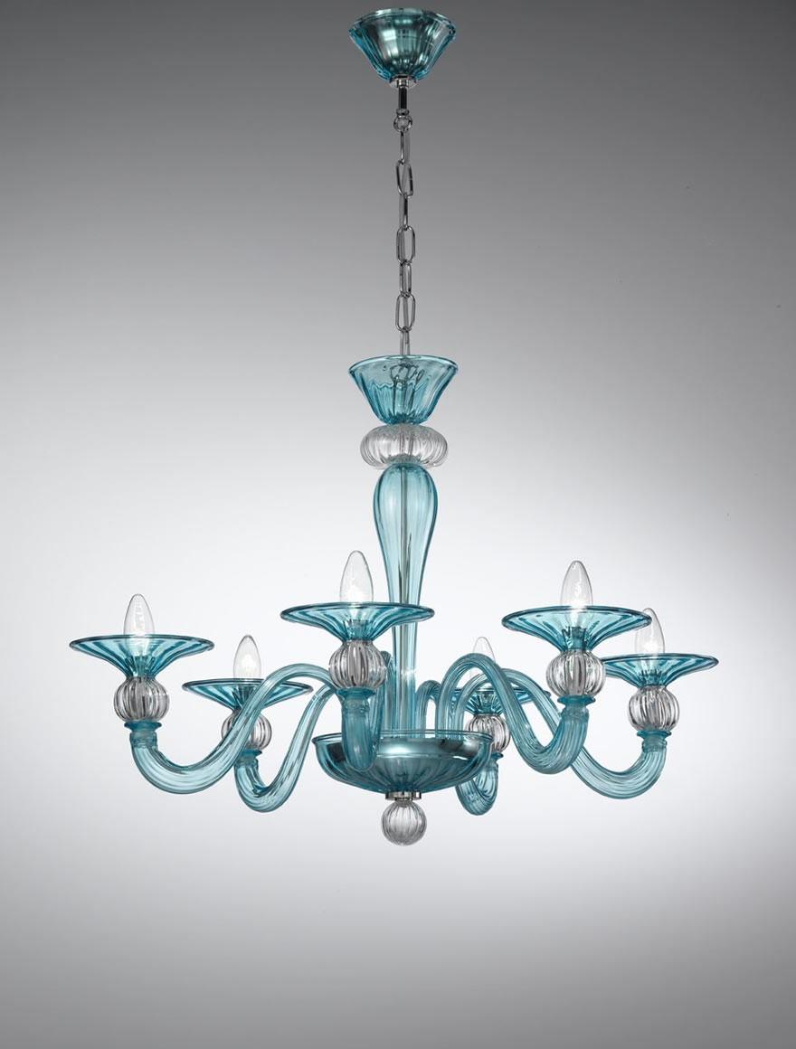 Murano Coloured Glass Chandelier 1154 Vetrilamp Murano Regarding Coloured Glass Chandelier (#8 of 12)