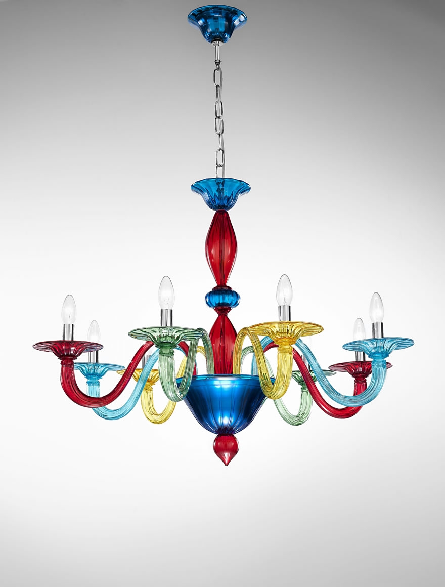 Murano Coloured Glass Chandelier Art1191 Vetrilamp Murano With Coloured Glass Chandelier (#9 of 12)