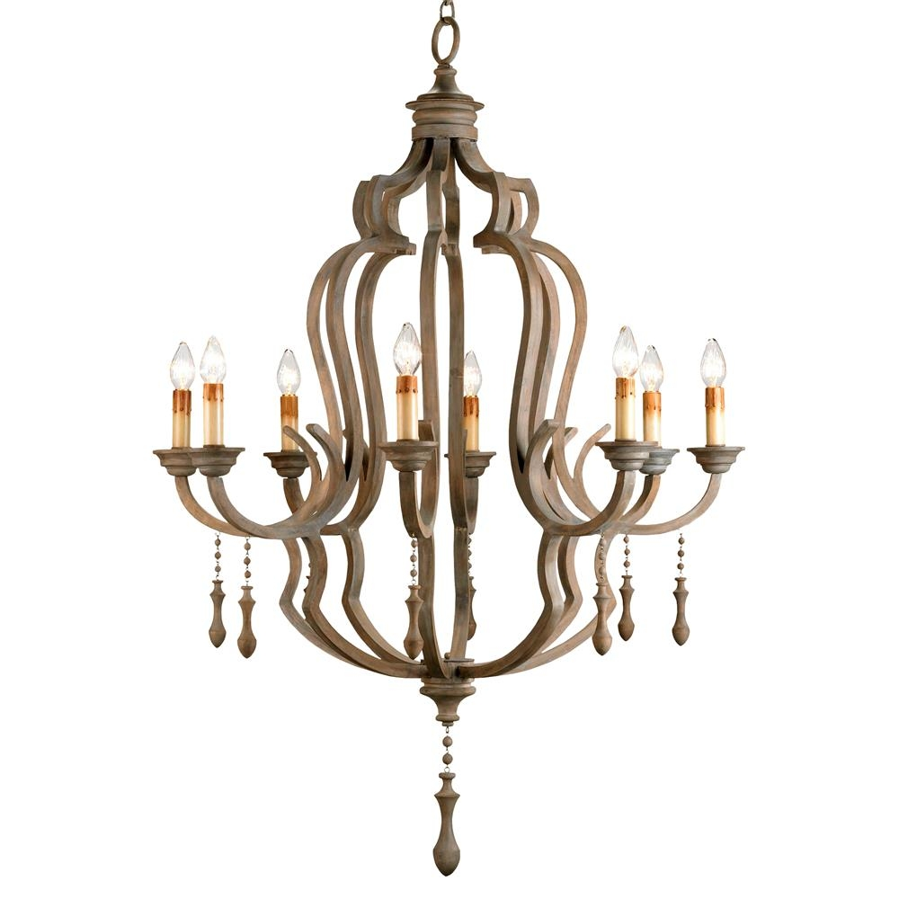 Normandy Large French Wood 8 Light Washed Grey Chandelier Kathy Inside French Wooden Chandelier (#8 of 12)