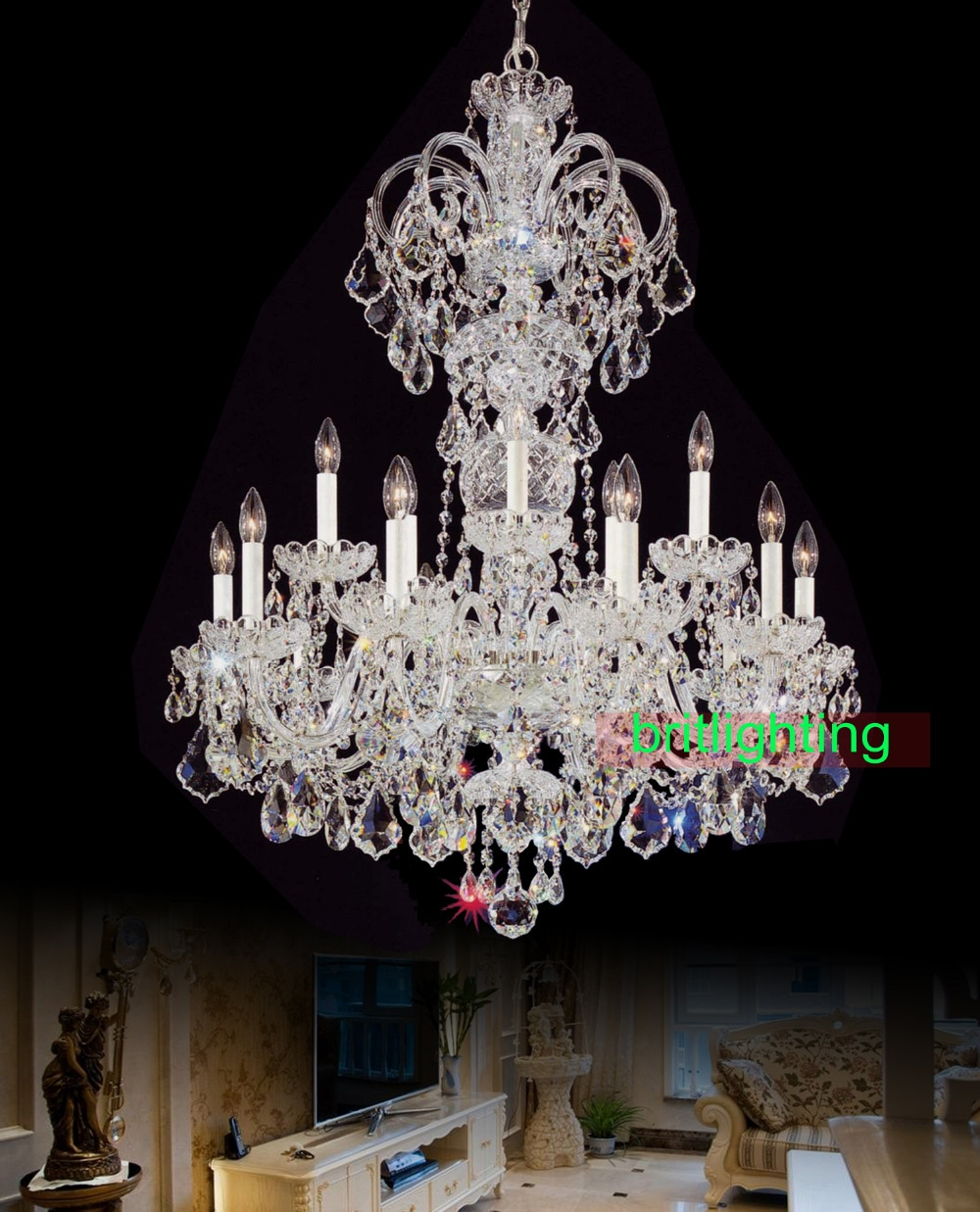 Online Buy Wholesale Big Chandelier From China Big Chandelier In Huge Crystal Chandeliers (#10 of 12)