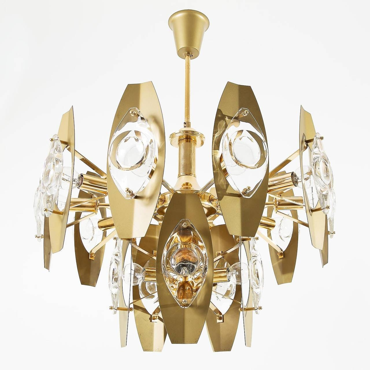 Pair Of Large Italian Gaetano Sciolari Chandeliers Lens Glass In Large Brass Chandelier (#8 of 12)