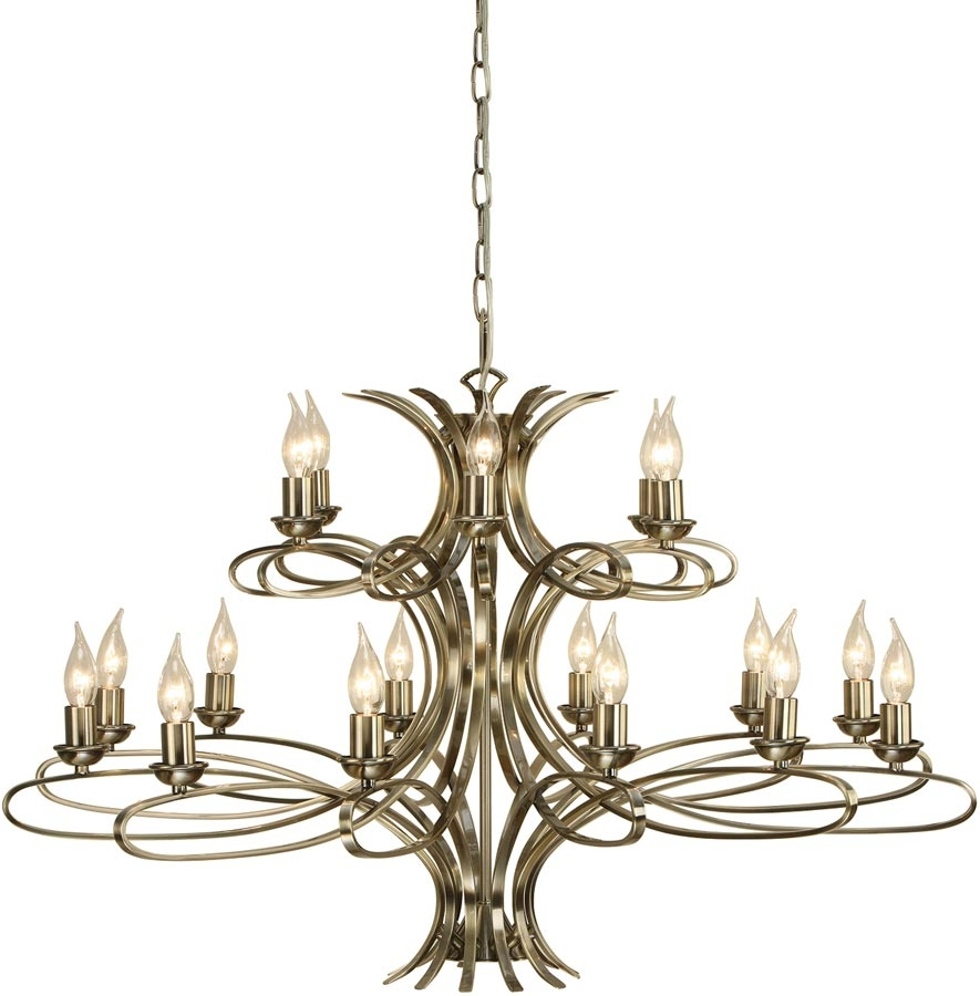 Penn Contemporary 18 Light Large Brushed Brass Chandelier 63566 Pertaining To Large Brass Chandelier (#9 of 12)