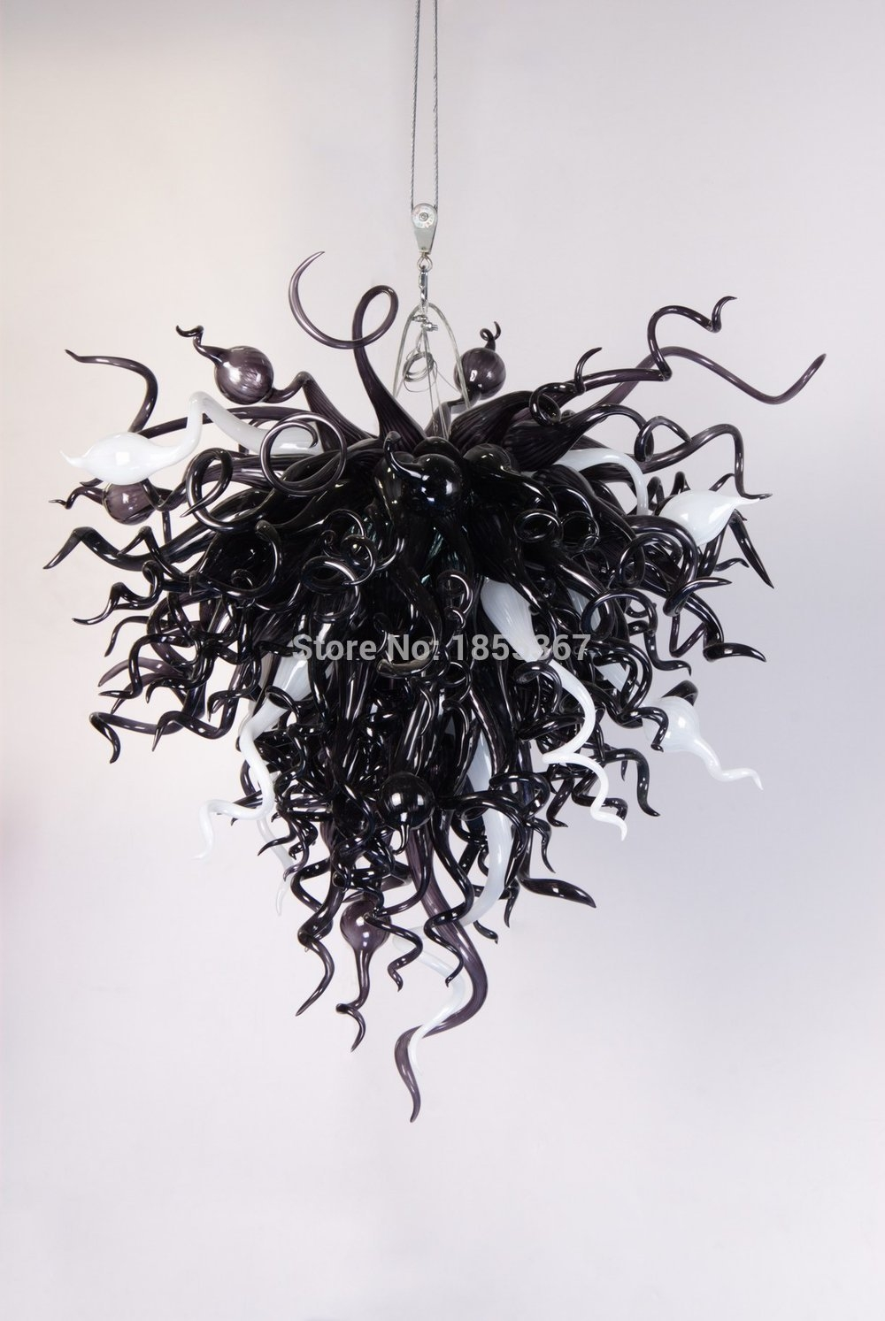 Popular Photo of Black Glass Chandeliers