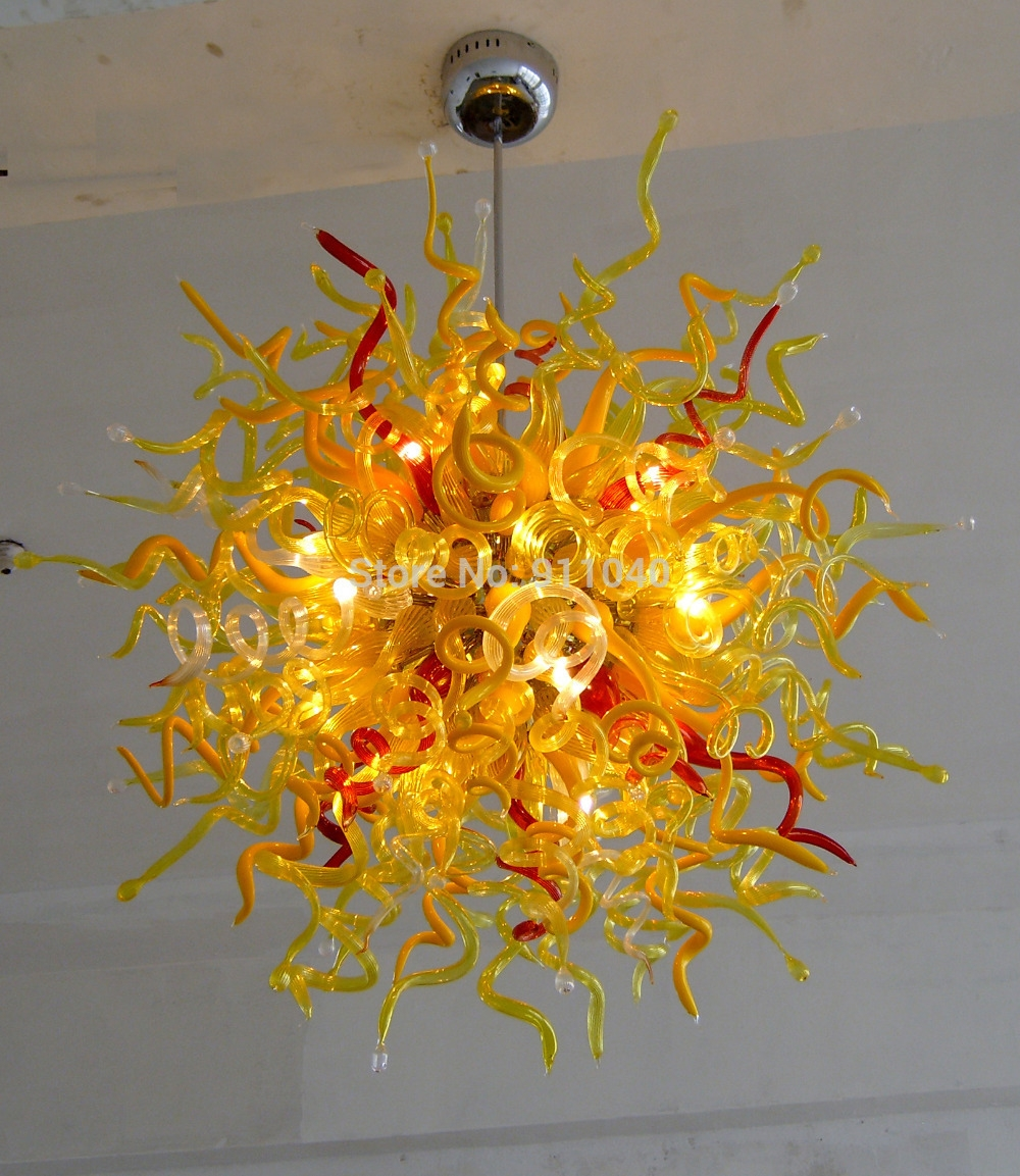 Popular Photo of Coloured Glass Chandelier