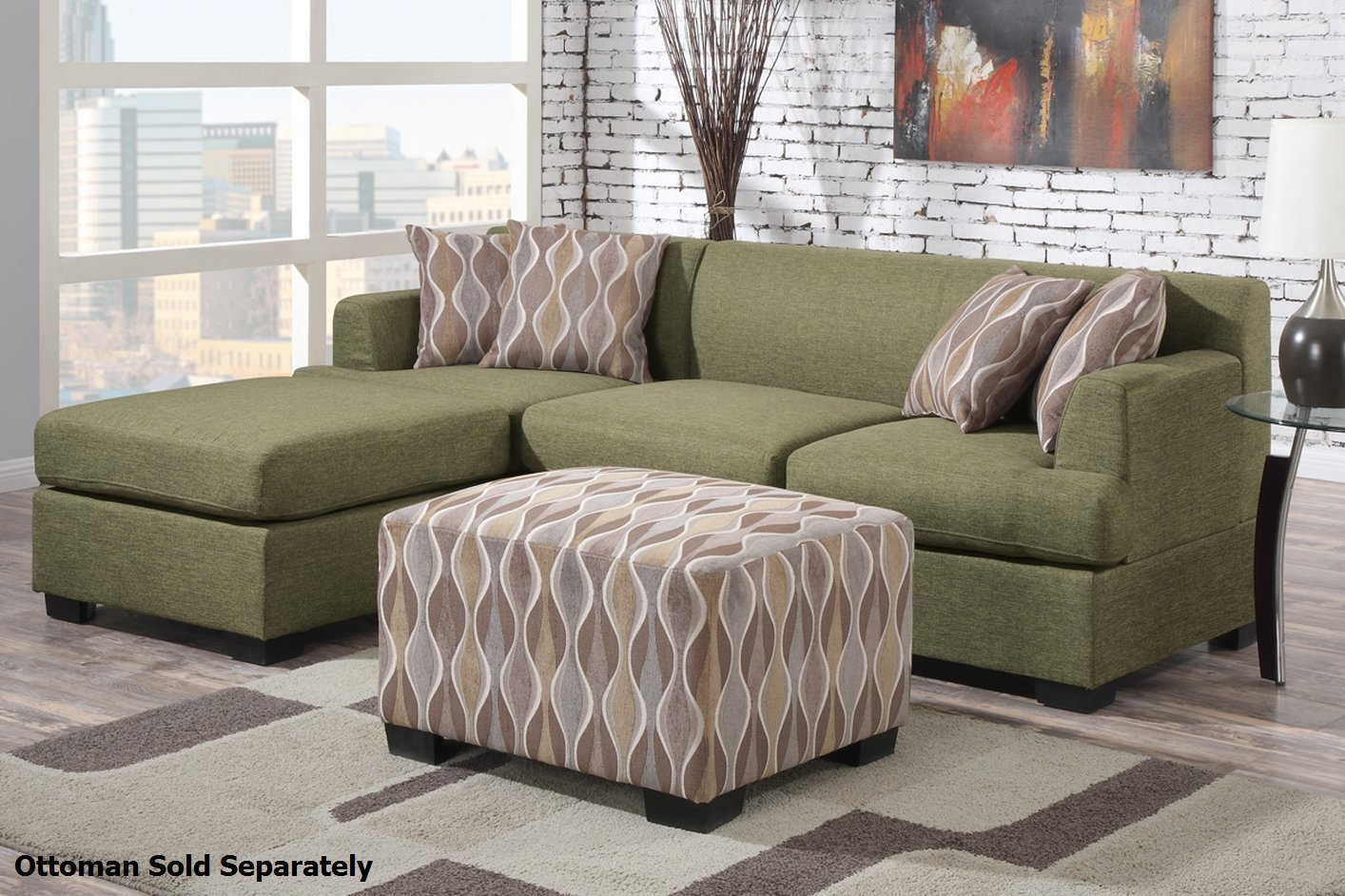 Poundex Montreal Ii F7976 F7977 Green Fabric Sectional Sofa Intended For Fabric Sectional Sofa (#11 of 12)