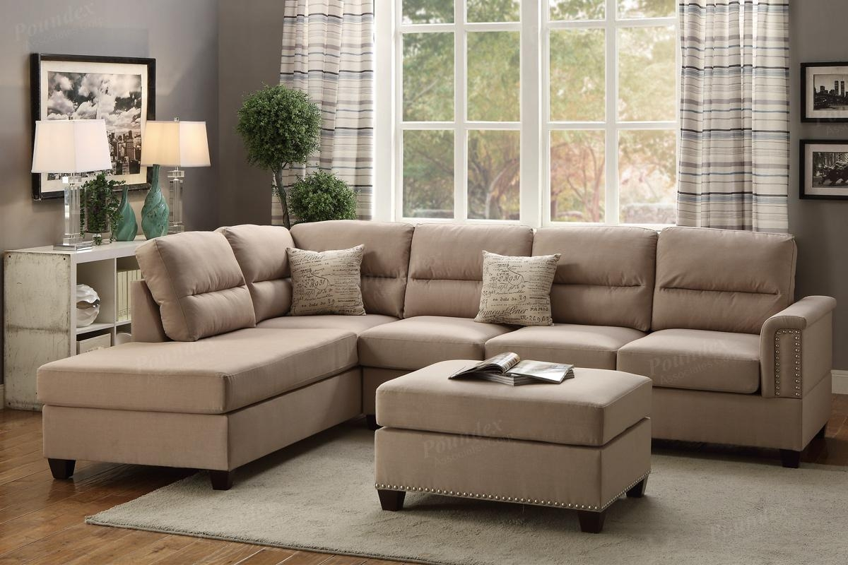 Poundex Rousey F7614 Brown Fabric Sectional Sofa And Ottoman With Regard To Fabric Sectional Sofa (#12 of 12)