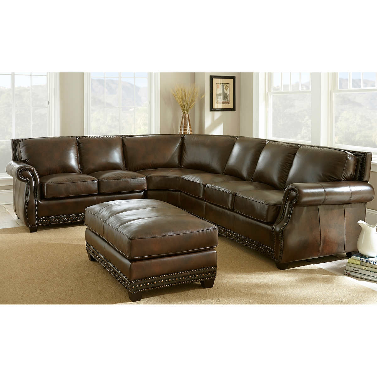 Remarkable Turquoise Leather Sectional Sofa 58 About Remodel Intended For Abbyson Living Charlotte Dark Brown Sectional Sofa And Ottoman (#11 of 12)