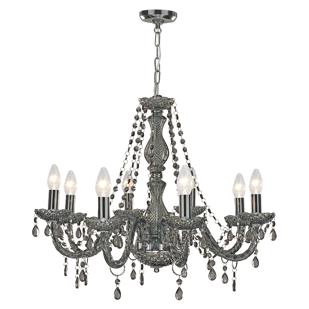 Searchlight 8698 8gy Marie Therese 8 Light Smoked Glass Chandelier Intended For Smoked Glass Chandelier (#9 of 12)