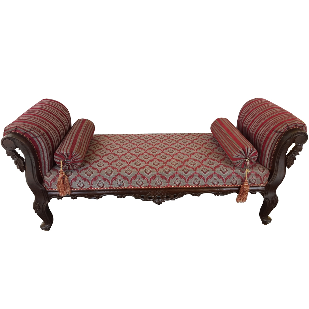 Delicieux Sheesham Wood Handcrafted Antibes Backless Chaise Longuedewan Throughout Backless  Chaise Sofa (#7 Of 12