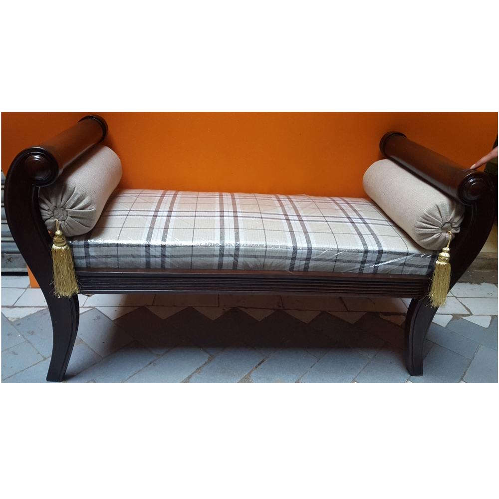 12 collection of backless chaise sofa for Chaise wooden arms