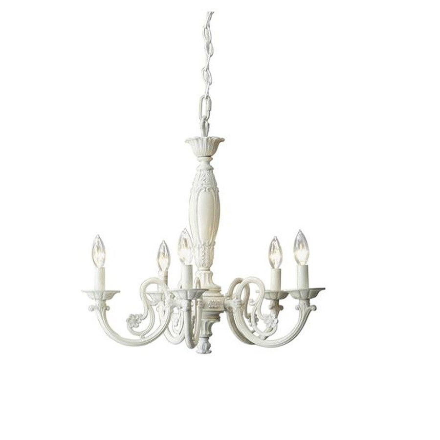Shop Style Selections Abrell 22 In 5 Light Antique White Standard Intended For Antique Style Chandeliers (#12 of 12)
