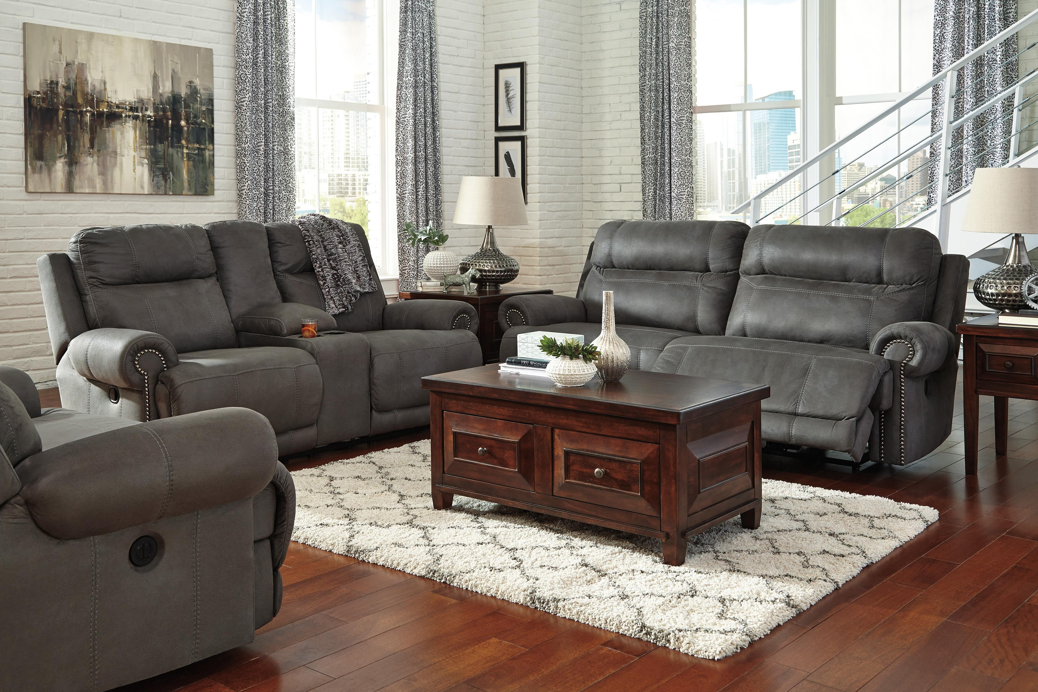 Signature Design Ashley Austere Gray 2 Seat Reclining Sofa With Ashley Furniture Gray Sofa (View 5 of 12)