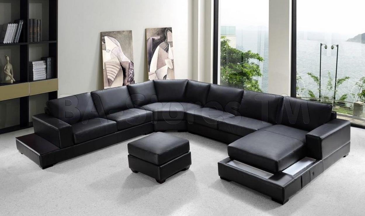 Sofas Center Modern Black Leatherfa Set Frightening Images Pertaining To Dobson Sectional Sofa (#9 of 12)