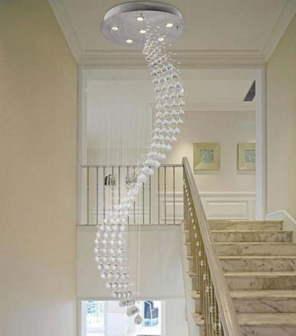 Spiral Rain Drop Chandelier Modern Crystal Chandeliers Lighting Throughout Staircase Chandeliers (#12 of 12)