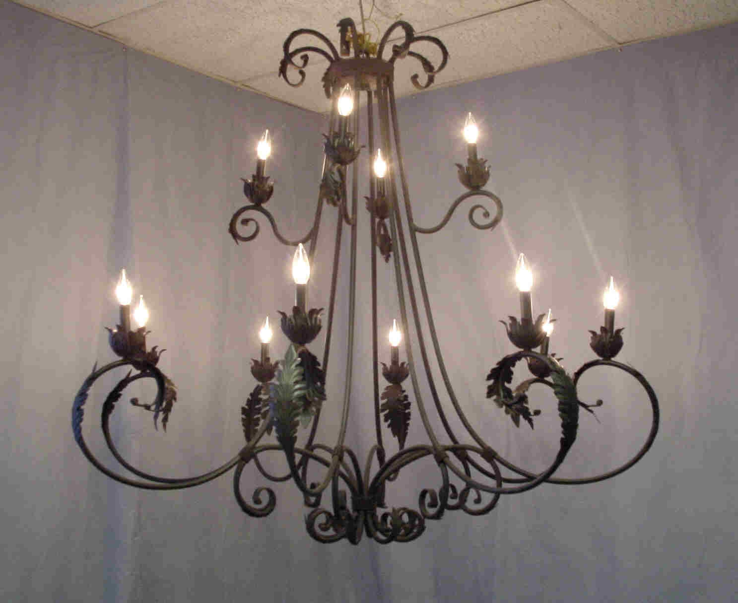 Stunning Iron Chandelier With Crystals Large French Wrought Iron Pertaining To Large Iron Chandeliers (#11 of 12)