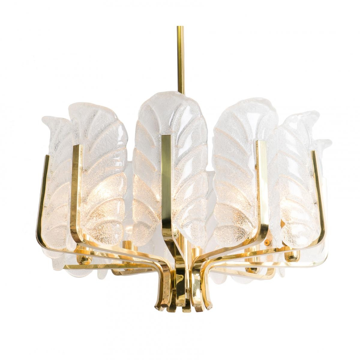 Swedish Large Brass Chandelier With Glass Leaves Carl Fagerlund Inside Large Brass Chandelier (#10 of 12)