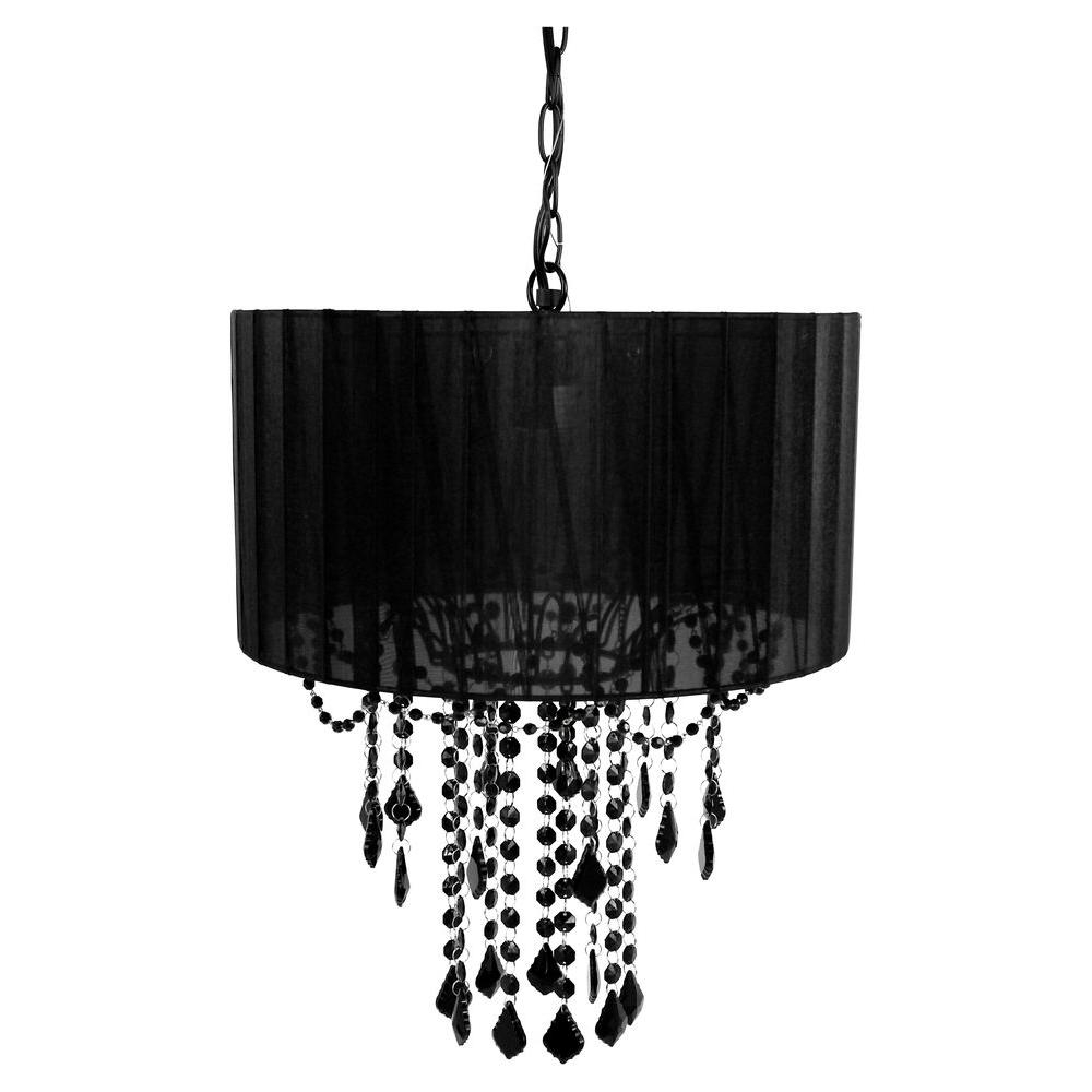 Tadpoles 1 Light Black Shaded Chandelier Cchash020 The Home Depot For Black Chandeliers (#11 of 12)