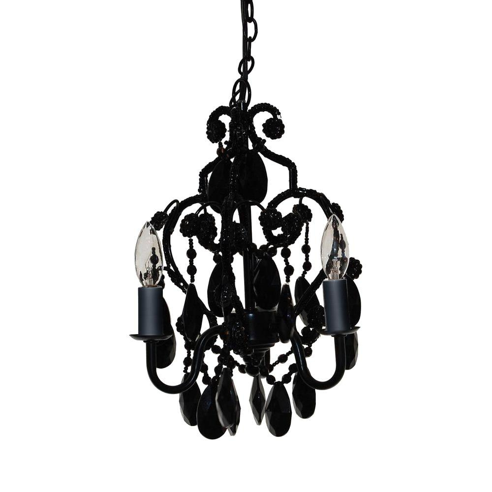 Tadpoles 3 Light Black Onyx Mini Chandelier Cchapl020 The Home Depot With Regard To Black Chandeliers (#12 of 12)
