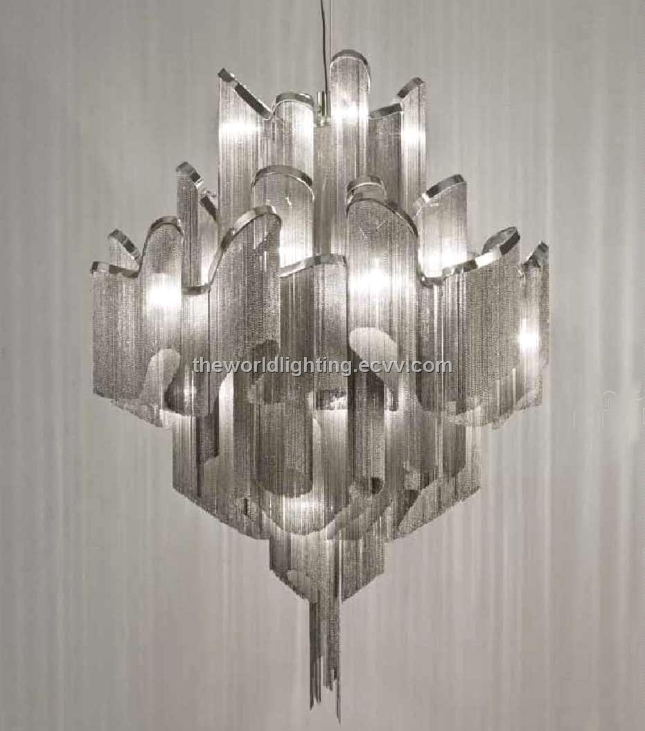 Td 120518chrome Metal Stand Silver Fabric Modern Iron Chandelier With Regard To Modern Chrome Chandeliers (#12 of 12)