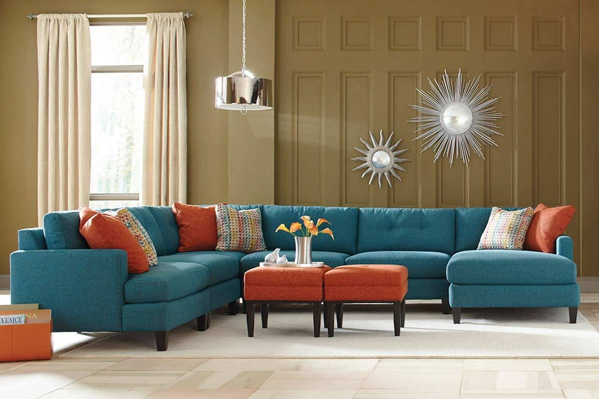 Teal Color Custom Sectional Sofa Made In The Usa Los Angeles With Custom Made Sectional Sofas (#12 of 12)