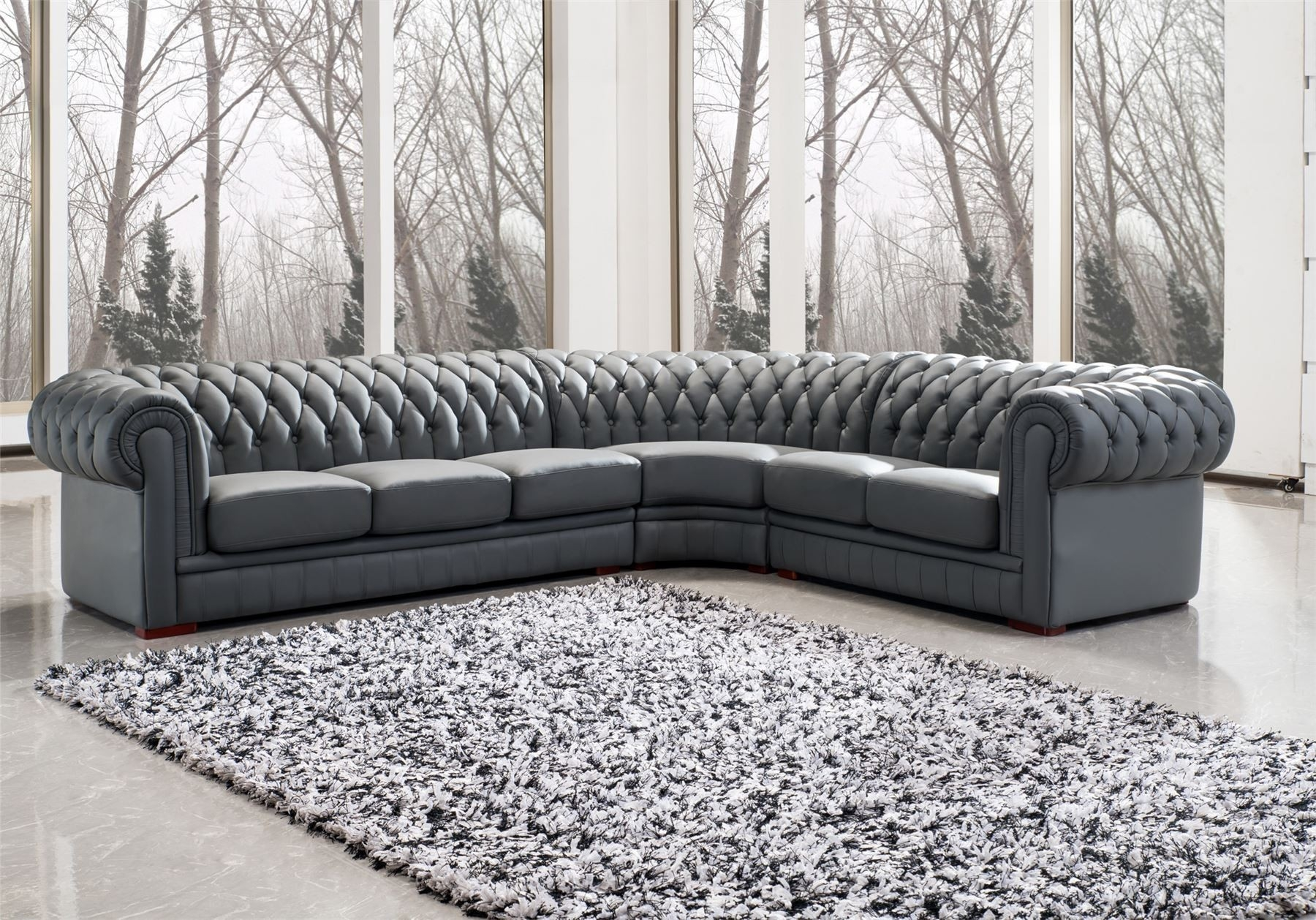 Photo Of Diana Dark Brown Leather Sectional Sofa Set - Dark grey leather sectional sofa
