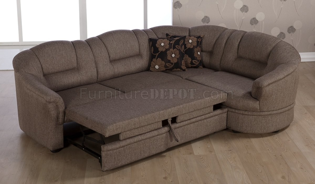Tone Brown Fabric Convertible Sectional Sofa Bed Wstorage Throughout Convertible Sectional Sofas (#9 of 12)