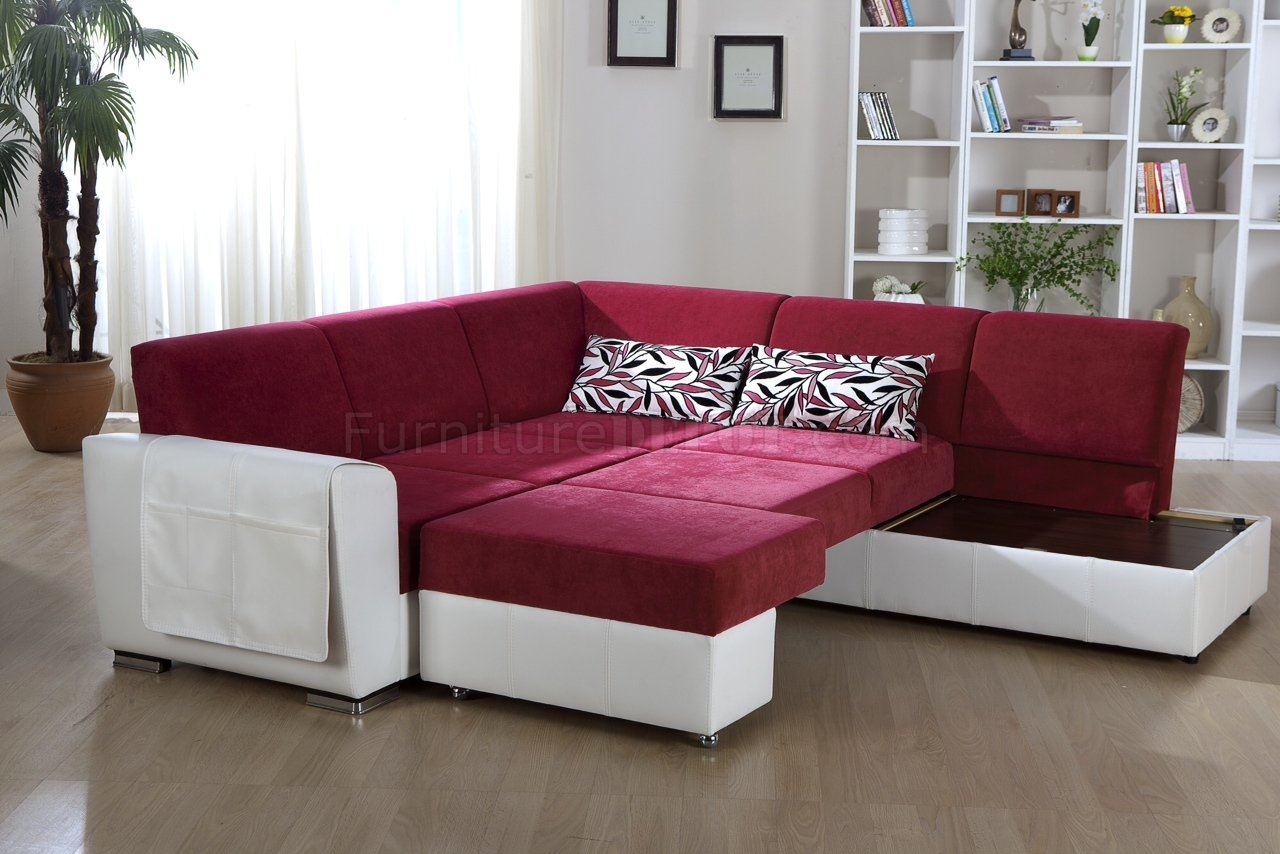 Tone Pink White Convertible Sectional Sofa Wstorage Intended For Convertible Sectional Sofas (#10 of 12)