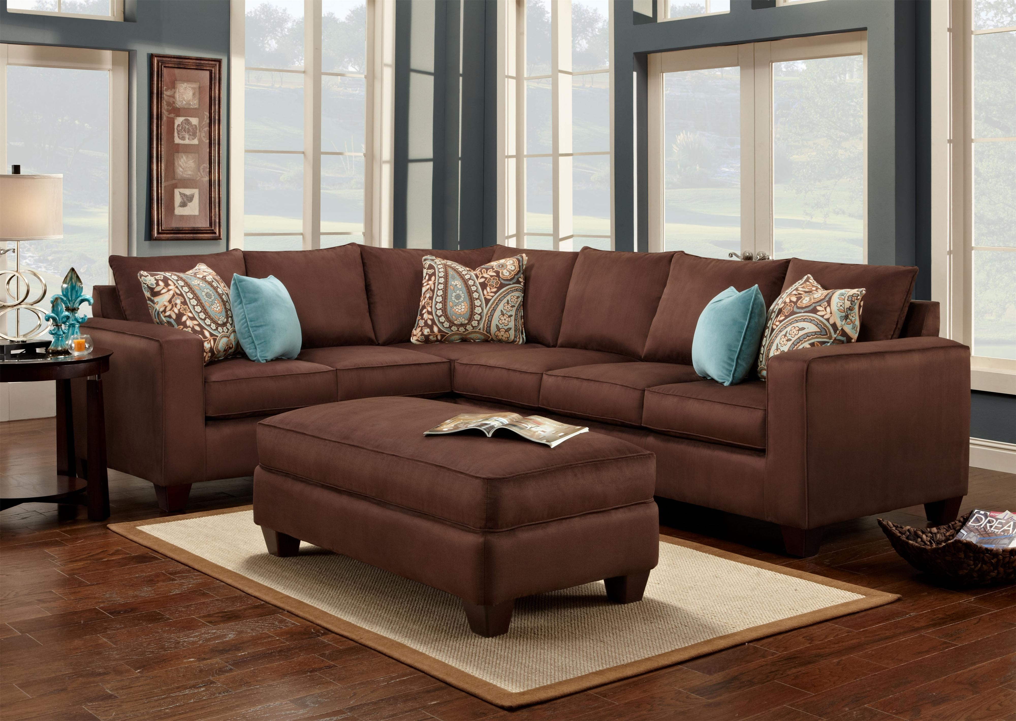 Turquoise Is A Great Accent Color To Chocolate Brown Accent With Chocolate Brown Sectional Sofa (#12 of 12)