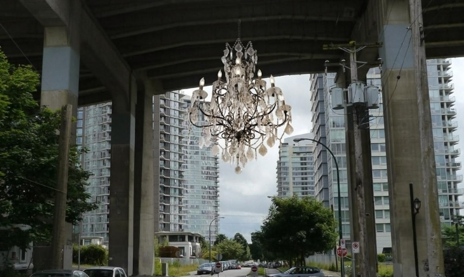 Vancouver Lights Up A Dark Highway Overpass With A Massive Throughout Massive Chandelier (#11 of 12)