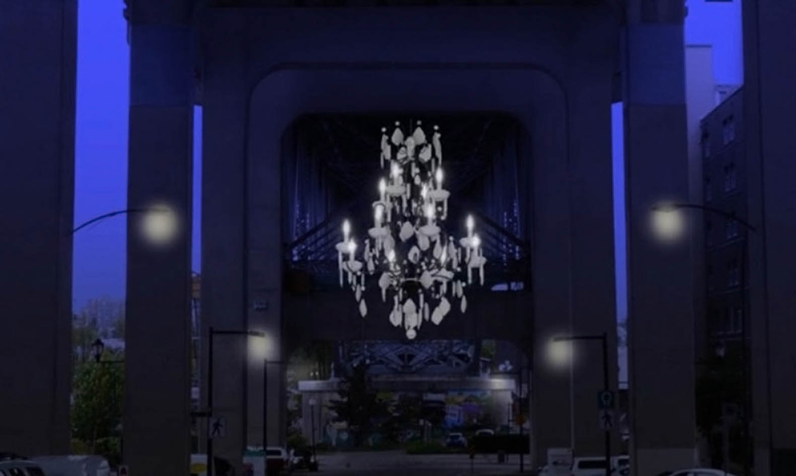 Vancouver Lights Up A Dark Highway Overpass With A Massive With Massive Chandelier (#12 of 12)