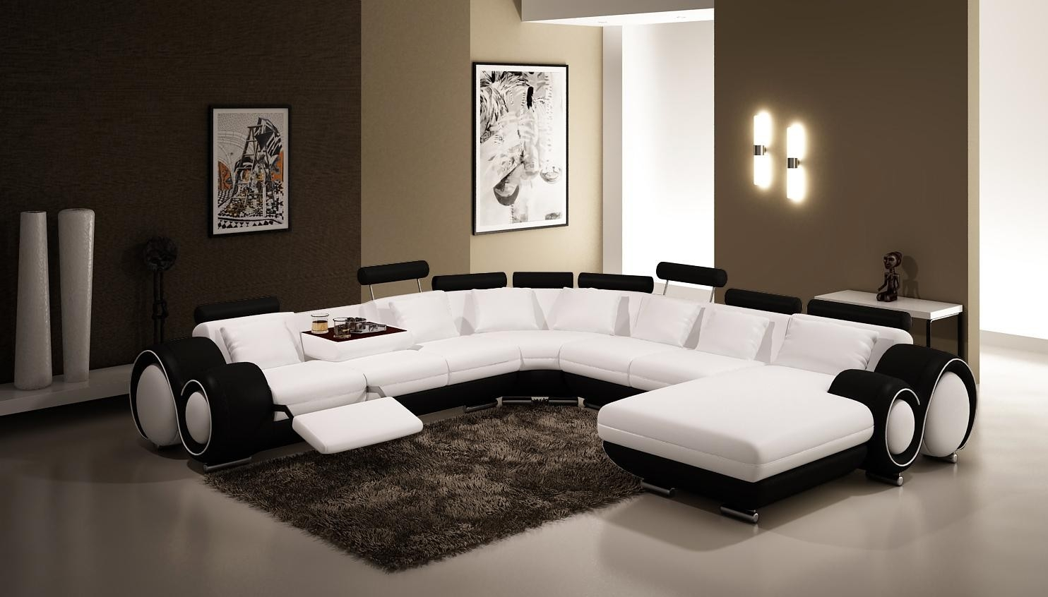 Vig Furniture 4084 Contemporary Black And White Leather Sectional Sofa Inside Black And White Sectional Sofa (#11 of 12)