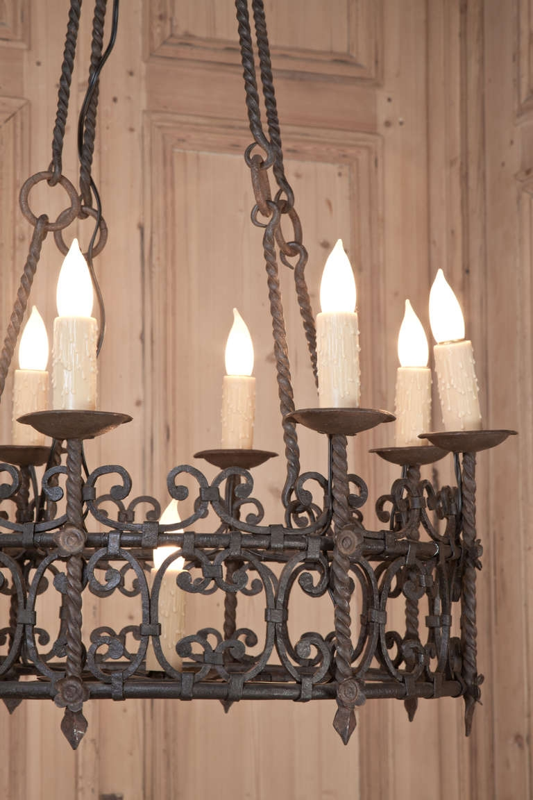Vintage Country French Wrought Iron Chandelier Vintage Wrought Pertaining To Vintage Wrought Iron Chandelier (#6 of 12)