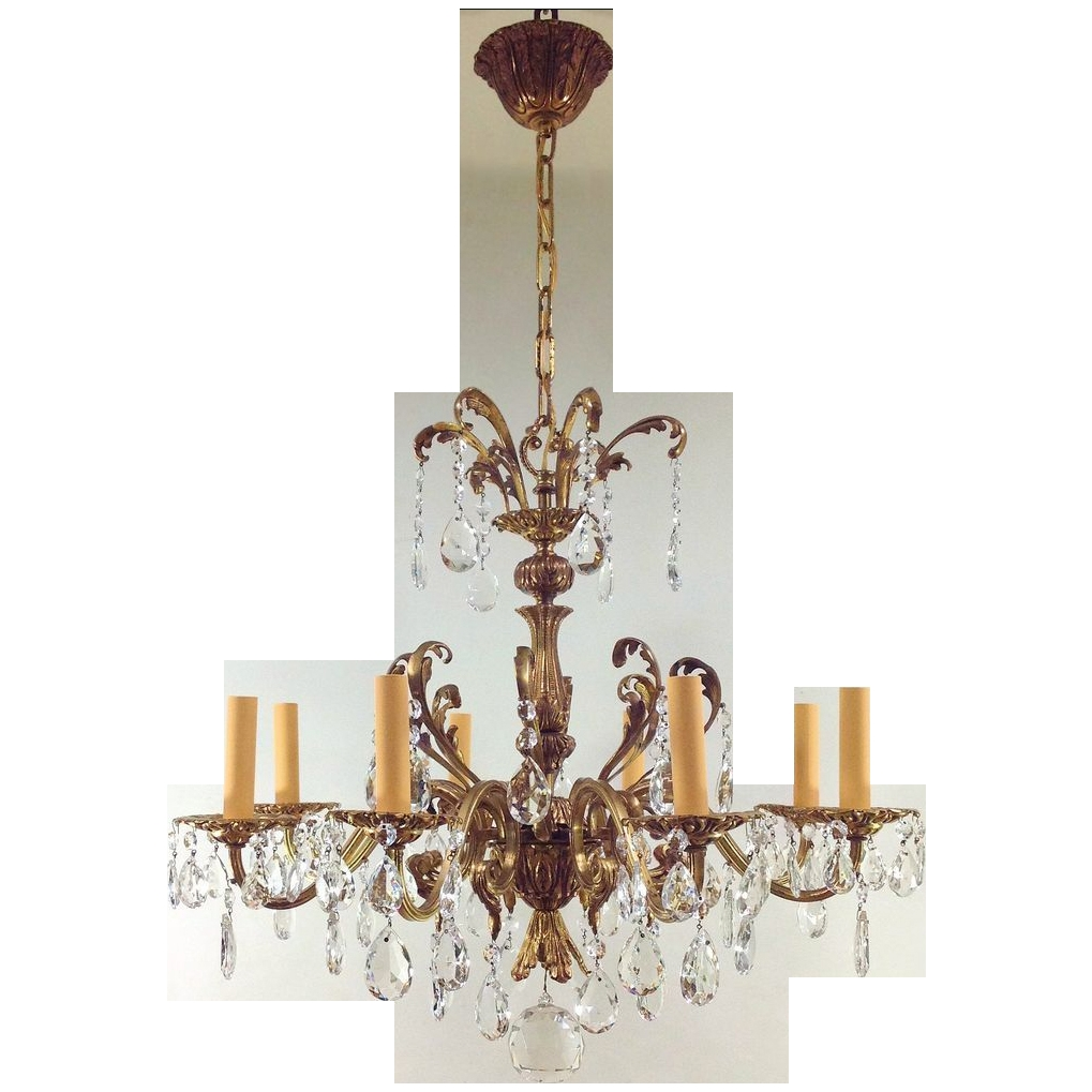 Vintage Czechoslovakia Gilt Crystal Chandelier 8 Lights Sold On Intended For Vintage Chandelier (#9 of 12)