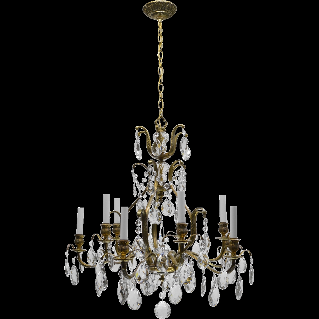 Vintage Swedish Chandelier Brass Crystal 10 Lights From Tolw Inside Large Brass Chandelier (#12 of 12)