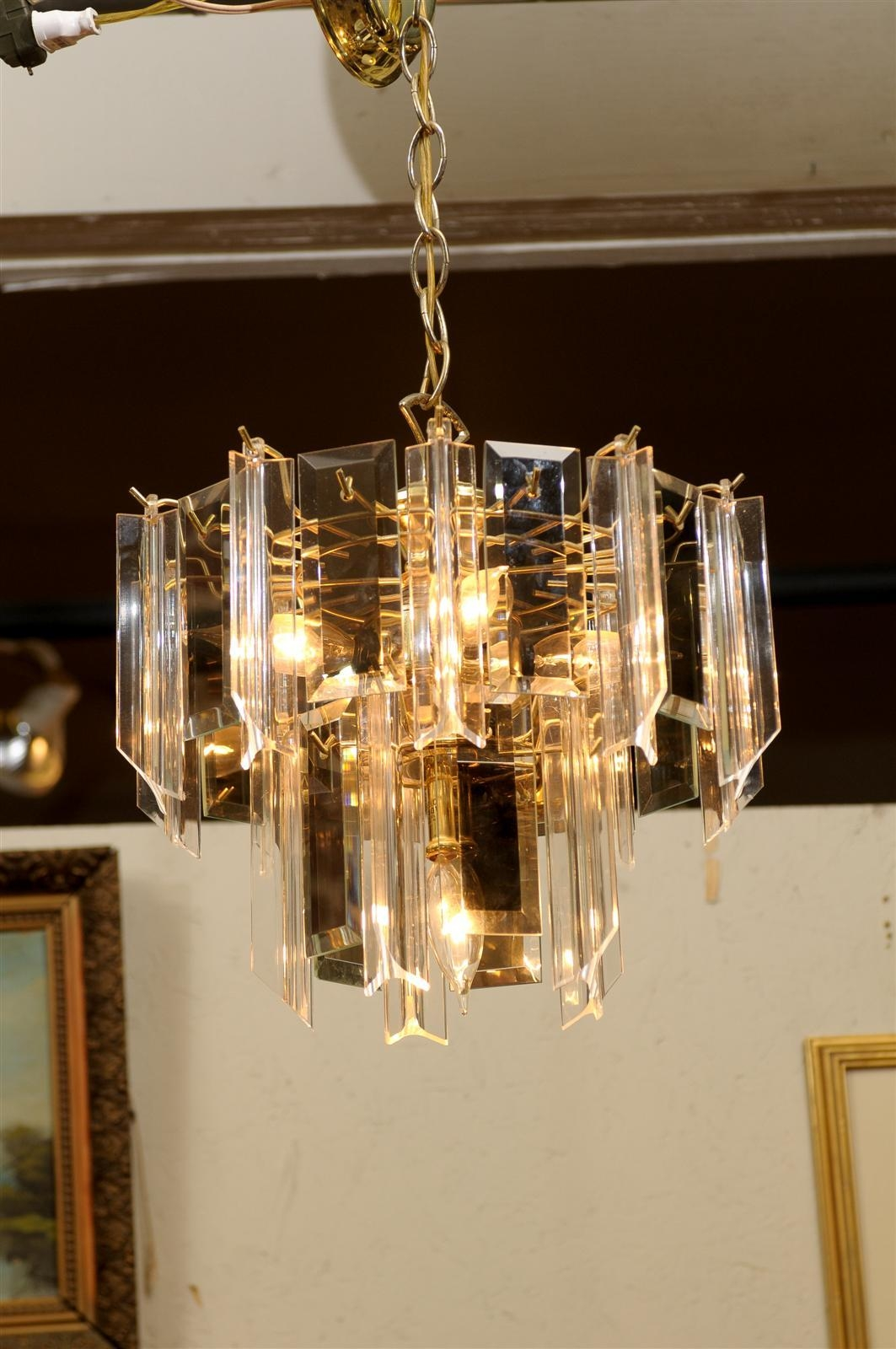 Vintage Waterfall Chandelier Of Brass Smoked Glass And Lucite At With Regard To Brass And Glass Chandelier (#11 of 12)