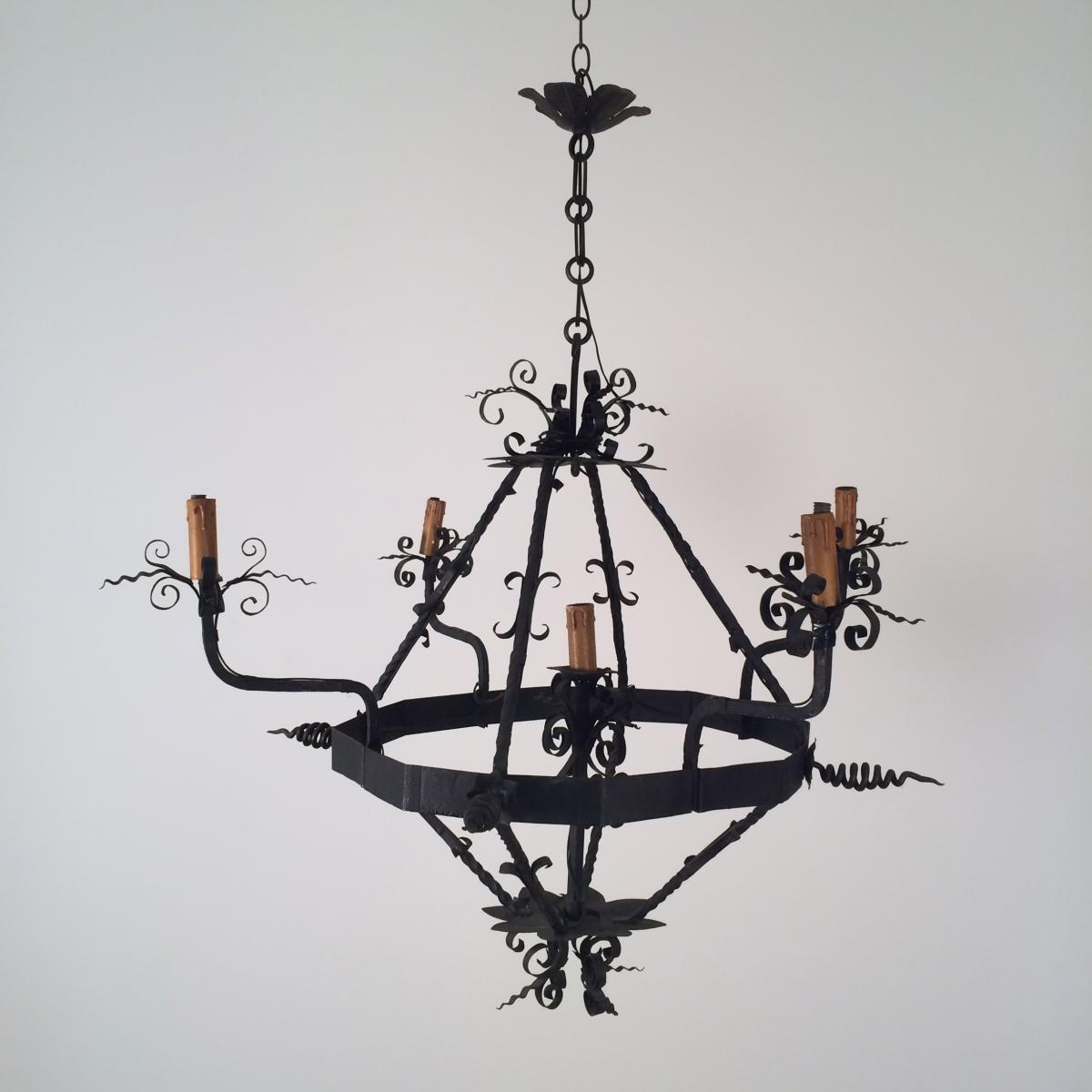 Vintage Wrought Iron Chandelier 1960s For Sale At Pamono Inside Vintage Wrought Iron Chandelier (#10 of 12)