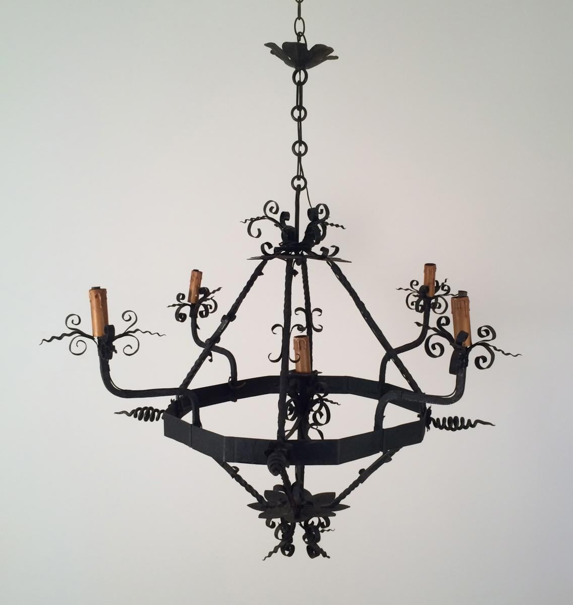 Vintage Wrought Iron Chandelier 1960s For Sale At Pamono Pertaining To Vintage Wrought Iron Chandelier (#11 of 12)