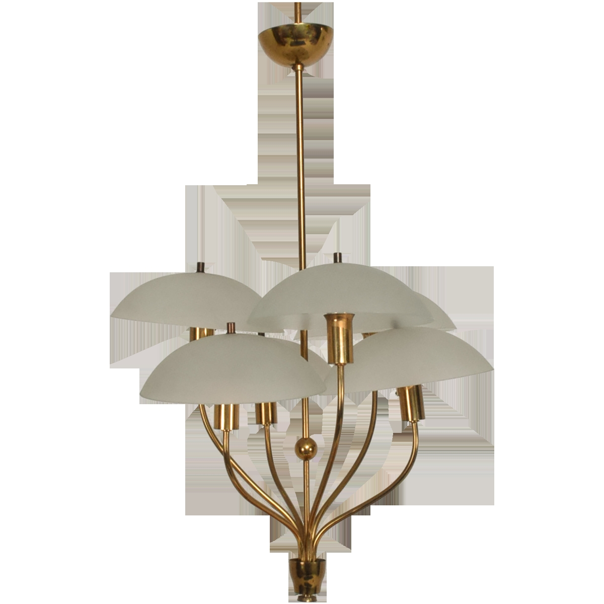 Viyet Designer Furniture Lighting Mid Century Modern Italian With Brass And Glass Chandelier (#12 of 12)