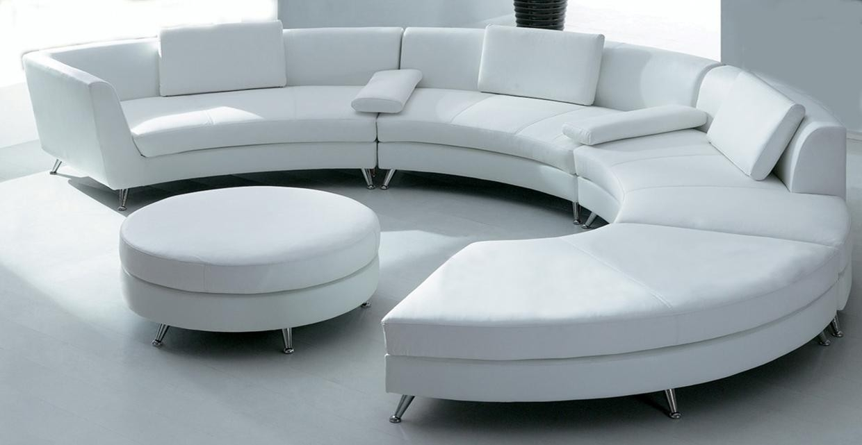 White Circular Leather Sofa W Ottoman Sf03 Qty 4 Throughout Circular Sectional Sofa (#12 of 12)