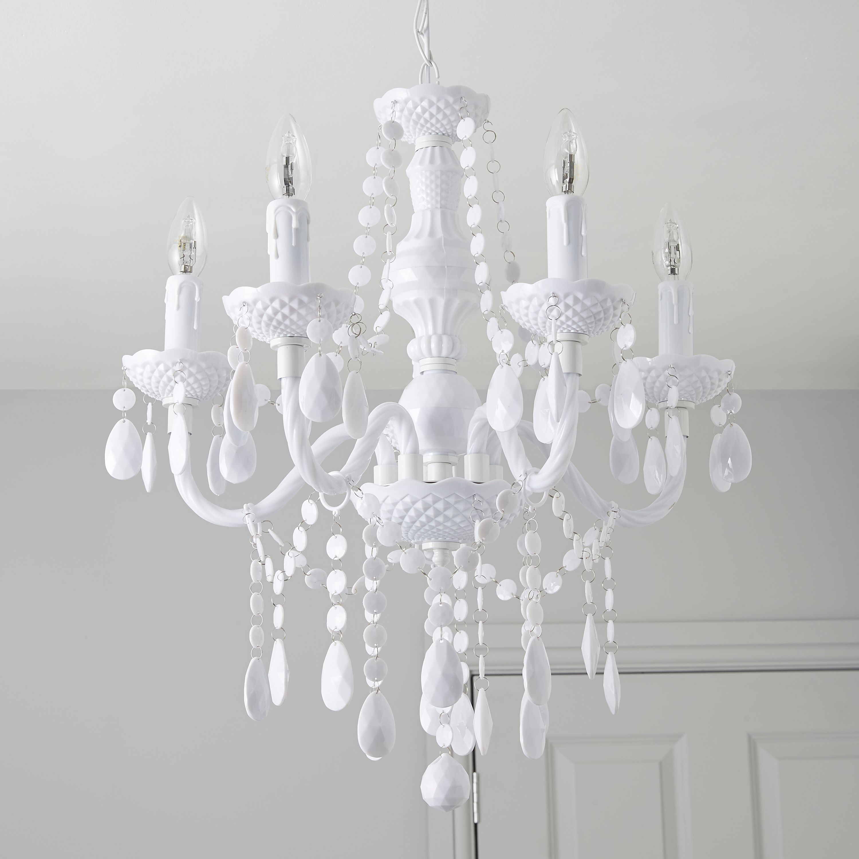 Wickham White 5 Lamp Pendant Ceiling Light Intended For White Chandeliers (#12 of 12)