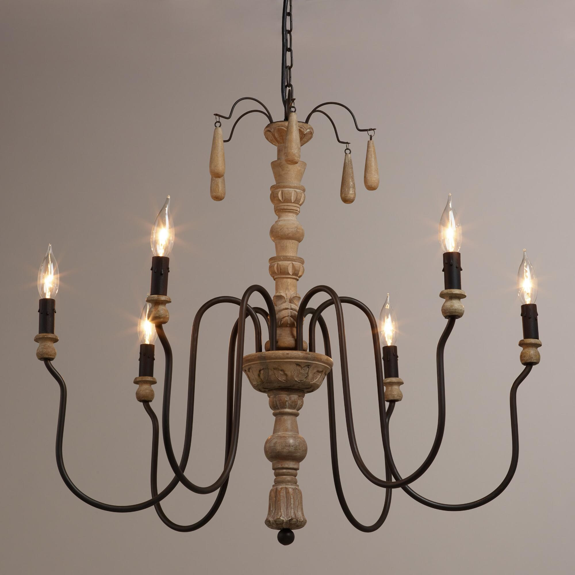 Wood Beaded Corinne Chandelier Pedestal Master Bedrooms And Throughout French Wooden Chandelier (#11 of 12)