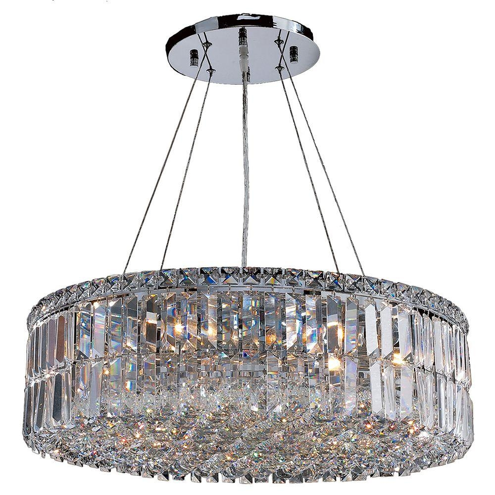 Worldwide Lighting Cascade Collection 12 Light Chrome Crystal Pertaining To Crystal Chrome Chandelier (#12 of 12)