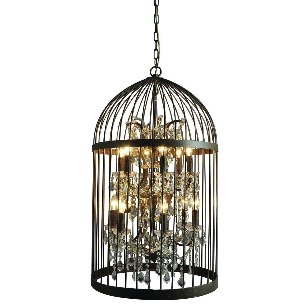 Y Decor Hunter 12 Light Rustic Black Cage Chandelier Lz2079 6 6rr Within Caged Chandelier (#12 of 12)