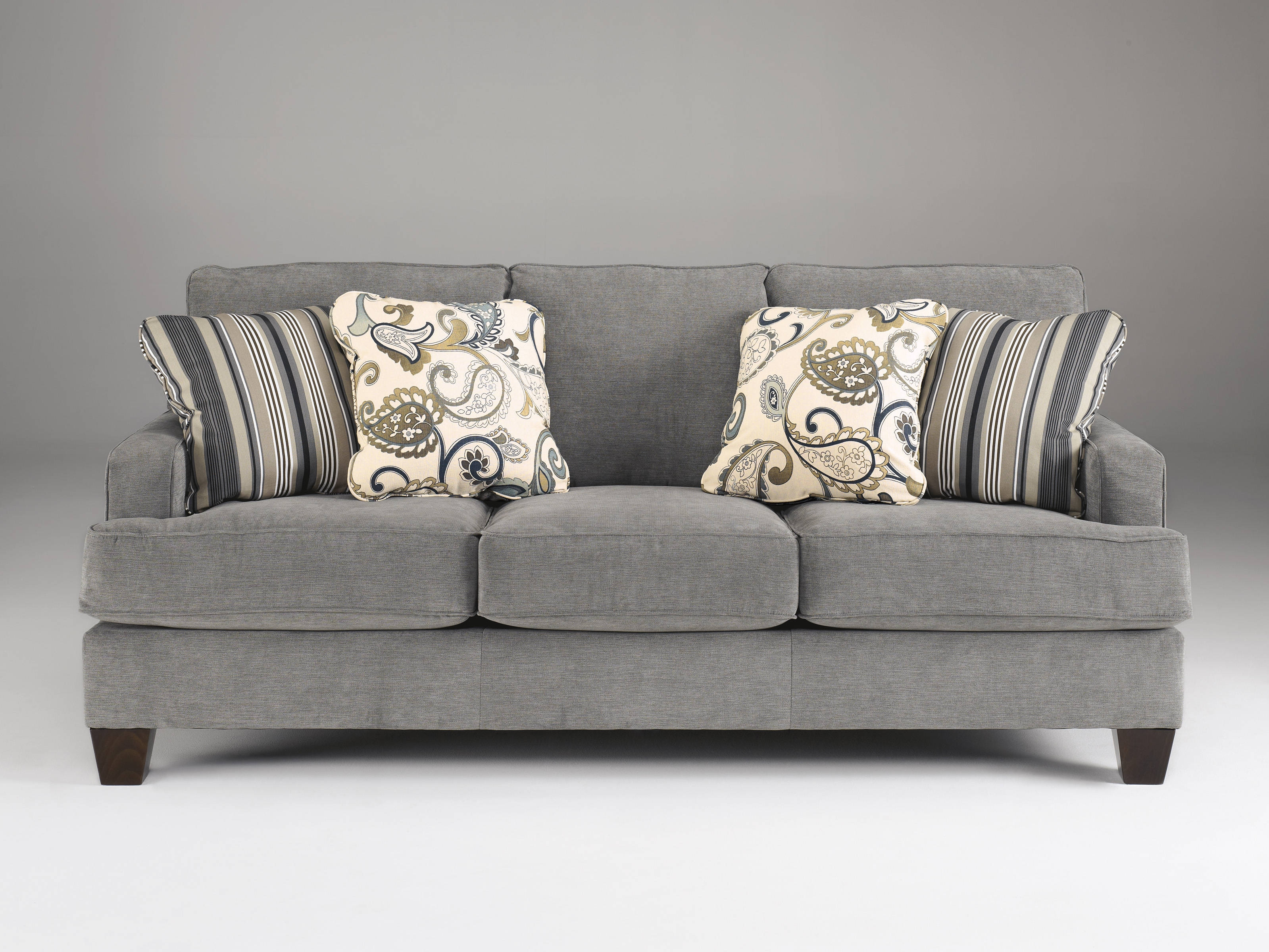 Yvette Casual Steel Gray Fabric Cushion Back Sofa Living Rooms Inside Ashley Furniture Gray Sofa (View 10 of 12)