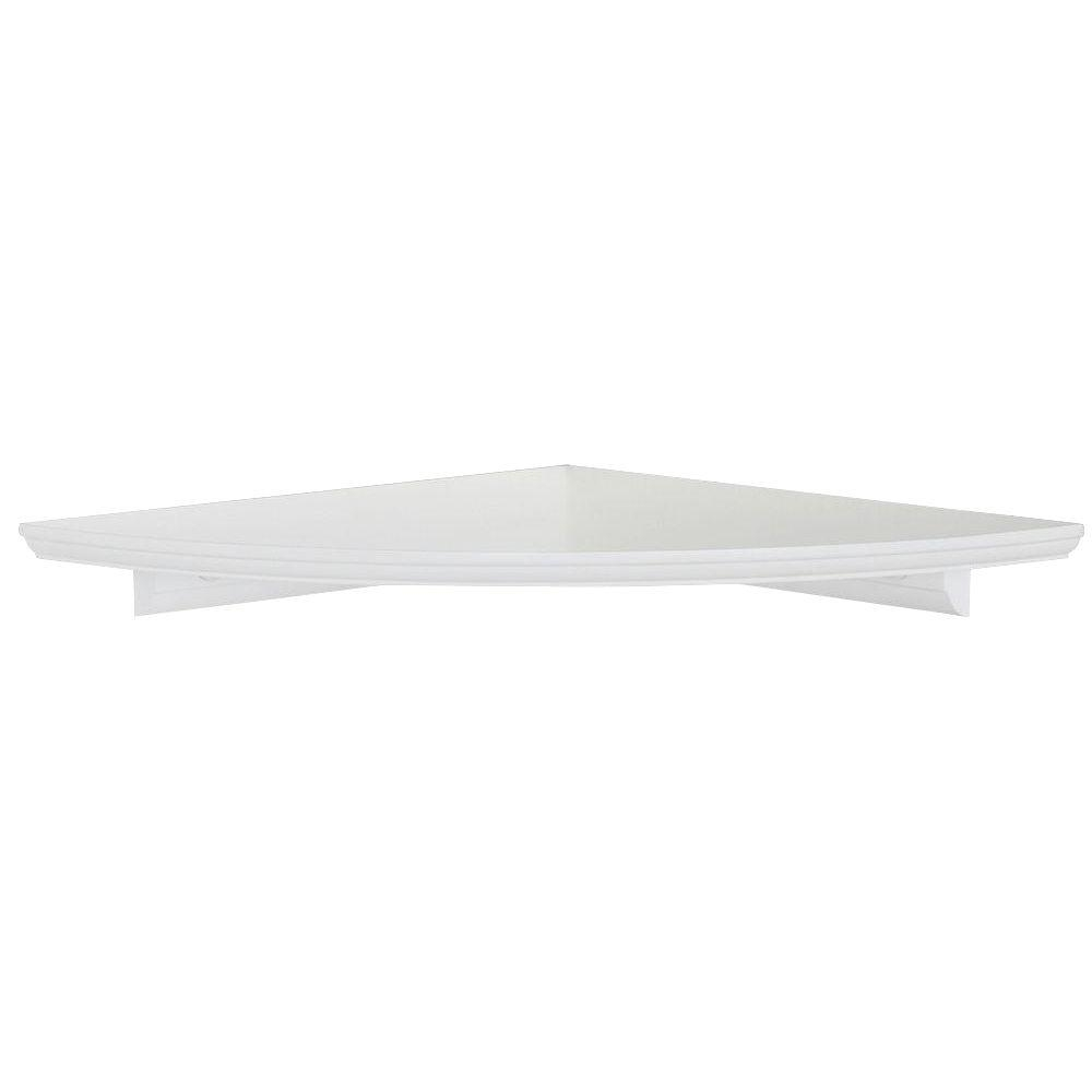 12 In W White Floating Mdf Corner Shelf Hdrcc12w The Home Depot Intended For Corner Shelf (#1 of 12)