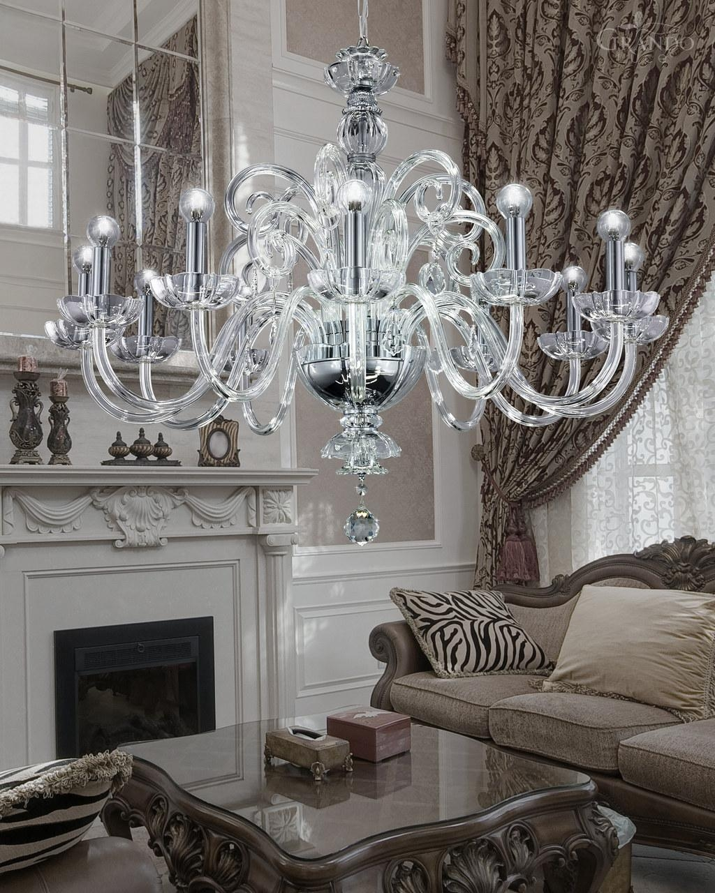 12512 Ch Chrome Crystal Chandelier With Crystal Swarovski Spectra Intended For Chrome And Crystal Chandelier (#4 of 12)