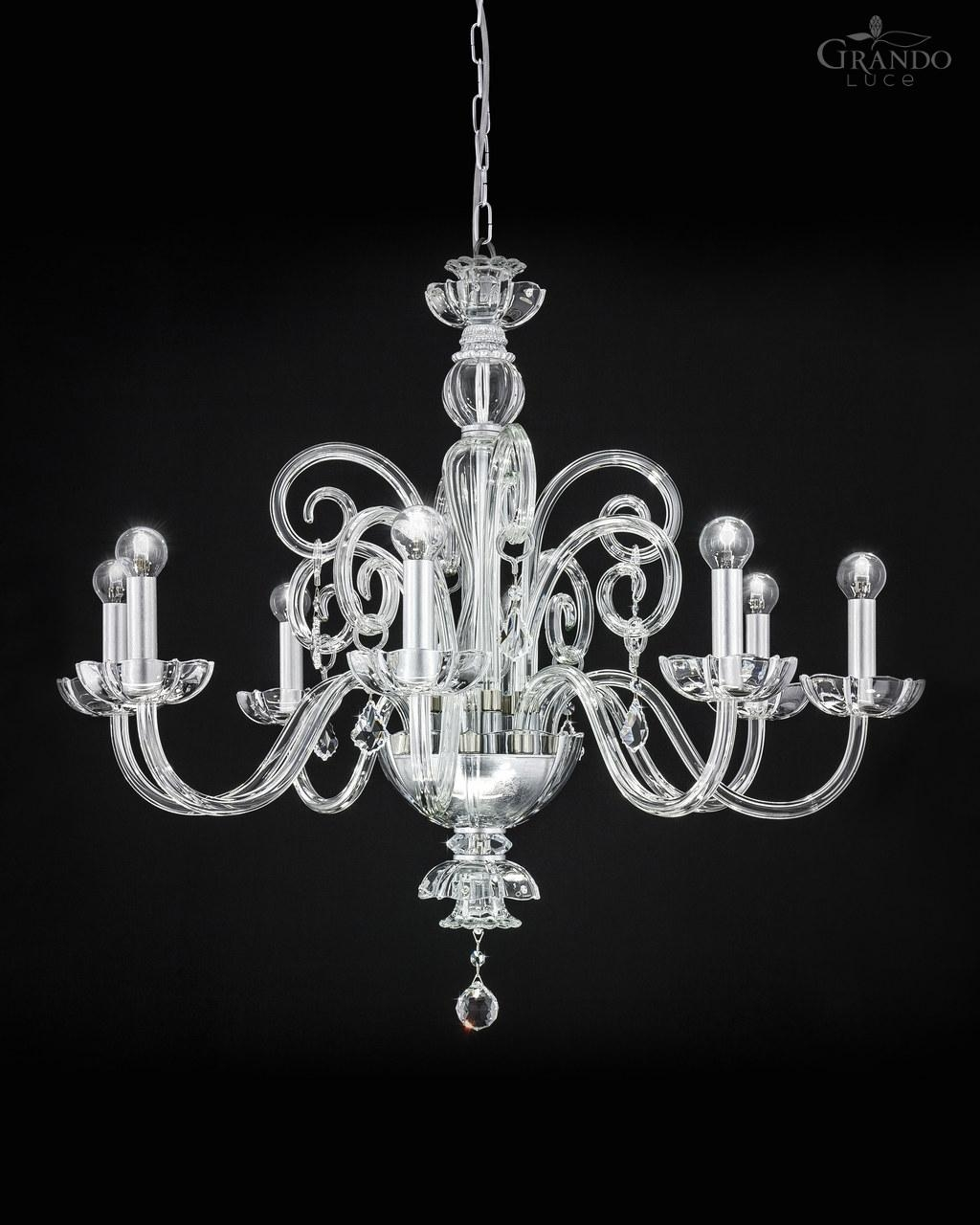 1258 Ch Silver Leaf Crystal Chandelier Decorated With Swarovski With Silver Chandeliers (#3 of 12)