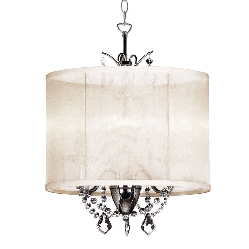 14 Inch Cream 3 Light Mini Crystal Chandelier White Silk Within Cream Chandelier (#1 of 12)