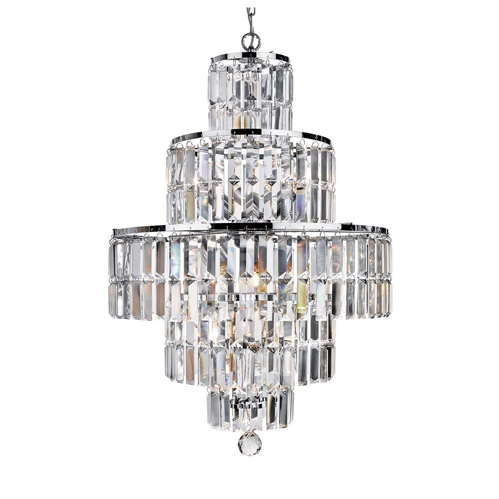 1400cc Empire 5 Light Chrome Chandelier With Clear Bevelled Glass Intended For Chrome Chandelier (#1 of 12)